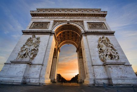 Arc De Triomphe closeup at sunrise