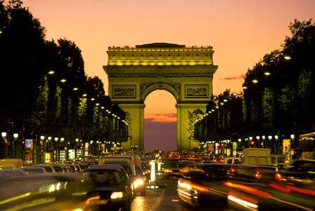 Arc De Triomphe sunset and car lights