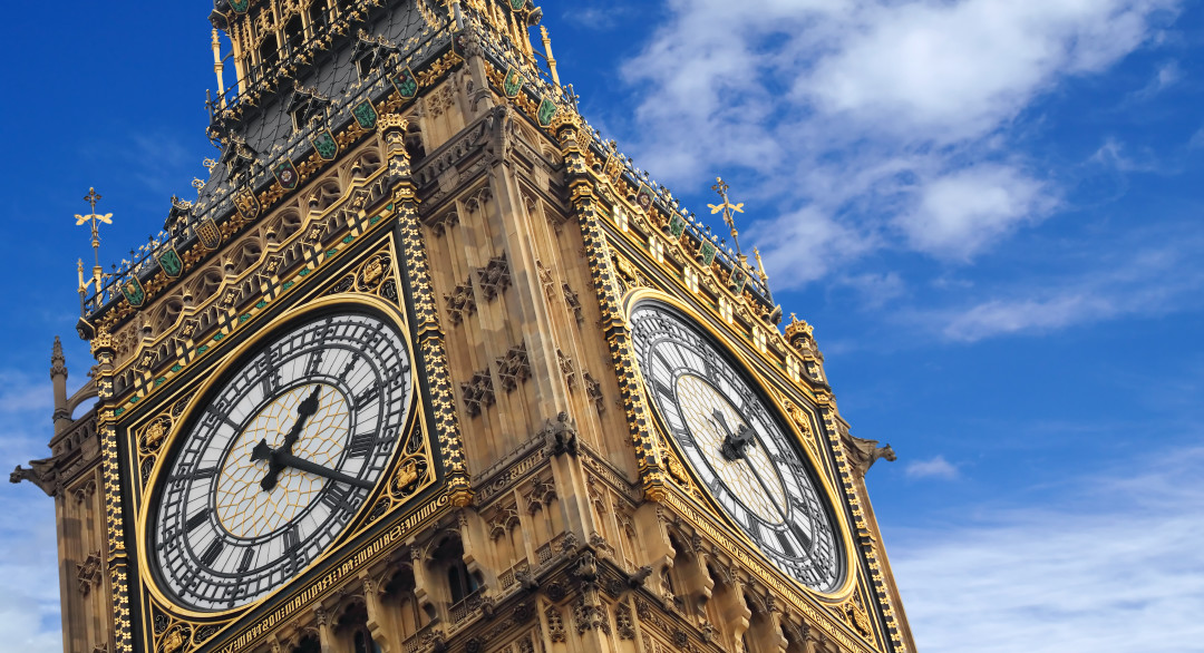 Big Ben close up on blue skies