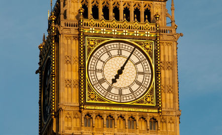Big Ben closeup front sunset