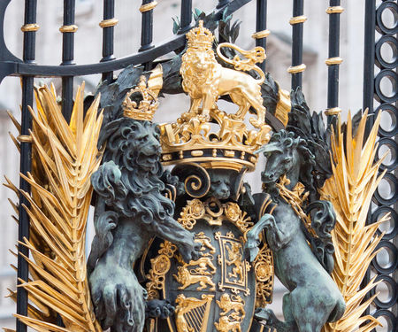 Buckingham Palace front gate royal coat of arms