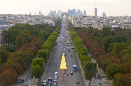 Champs Elysees autumn trees Luxor Obelisk tip