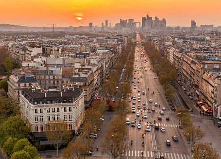 Champs Elysees Avenue autumn sunset