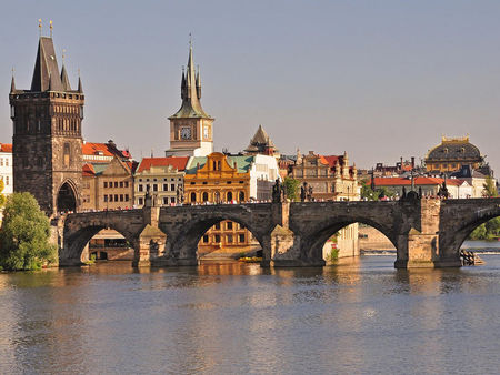 Charles Bridge Crosses Vltava River