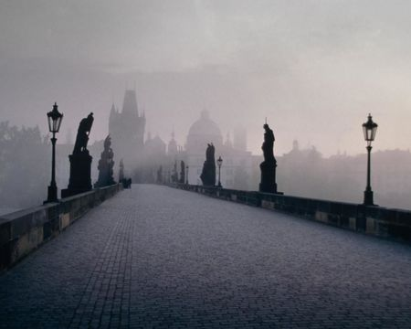 Charles Bridge in Fog Black and White