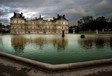 Jardin du Luxembourg palace cloudy dark and moody