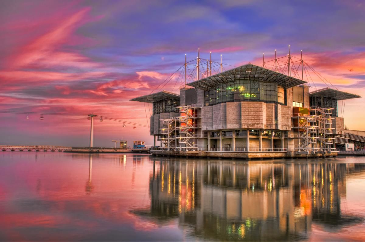Lisbon Oceanarium at Sunset