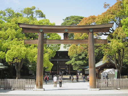 Meiji Shrine Torii at the Entrance to Meiji-jingu