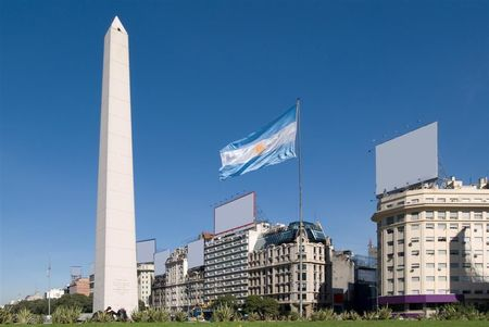 Obelisk of Buenos Aires and Argentine flag