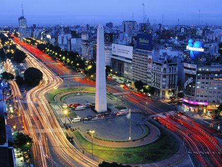 Obelisk of Buenos Aires Blured Car Lights at Night