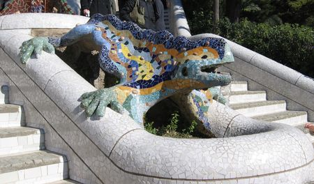 Park Guell salamander staircase