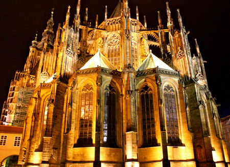 St. Vitus Cathedral at Night Lights