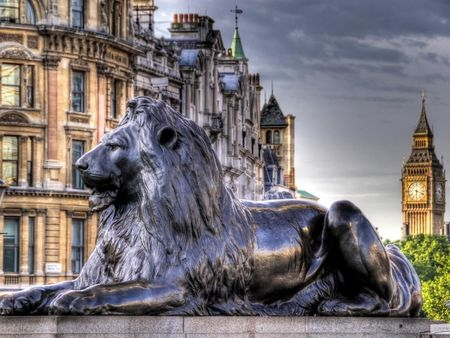 Trafalgar Square Lion and Big Ben