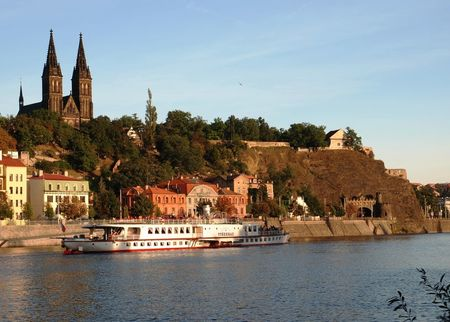 View of Vysehrad from Vltava River