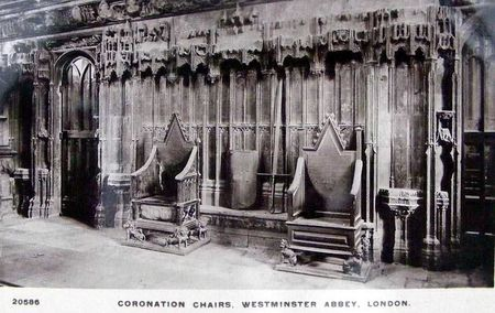 Coronation Chairs Westminster Abbey old photo