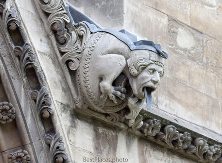 Westminster Abbey gargoyle as rooftop drainpipe