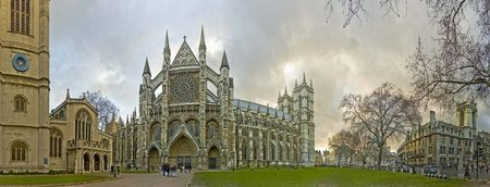 Westminster Abbey panoramic street viev